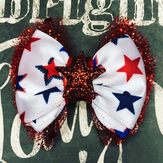 "2"" 4th of July Sparkly Mini Bow with Red Glitter Tulle- Dog Bows - Bows for Girls - Patriotic Bows - Bows with Stars - Bows for Dogs"