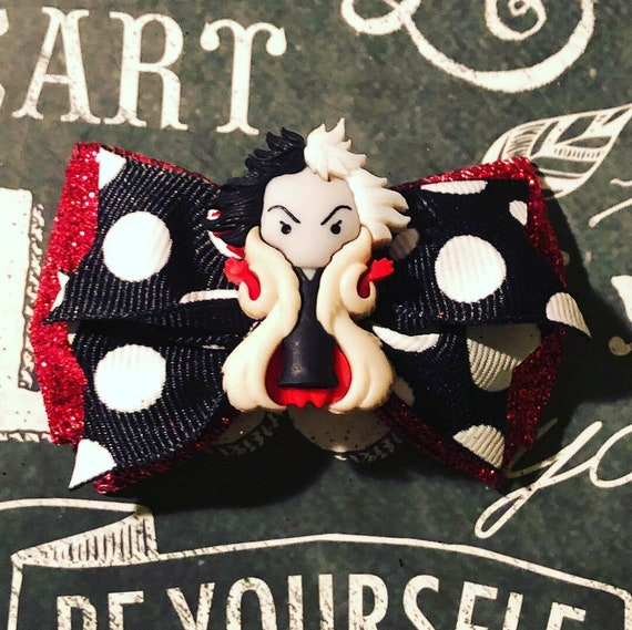 "2"" Cruella De Vil Mini Bows for Dogs or Girls - Polka Dot Bows -Dog Bows - Red, Black, and White Bows - Disney Witch Bows"