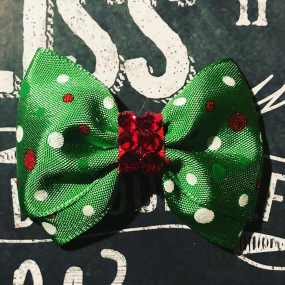 "2"" Green with Red and White Holiday Polka Dot Mini Bow- Dog Bows - Bows for Dogs  - Christmas Bows - Hair Bows for Dogs - Winter Bows"