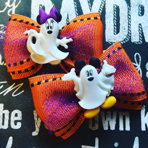 Ghost Mickey and Minnie Mini Halloween Bow Set