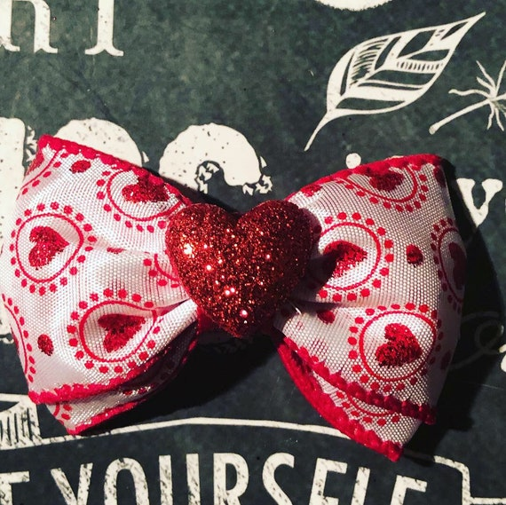 "2"" Red and White Valentine Mini Bow - Valentine's Day - Dog Bows  - Bows for Girls - Baby Bows - Bow with Hearts- Valentine Bows for Dogs"