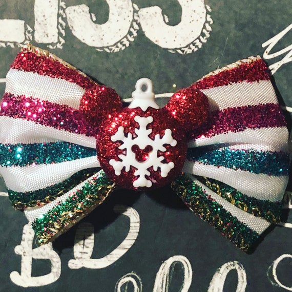 """2"""" Sparkly Rainbow Mickey Mouse Christmas Ornament Mini Bow- Dog Bows - Bows for Dogs  - Mickey Mouse Christmas Bows - Hair Bows for Dogs"""