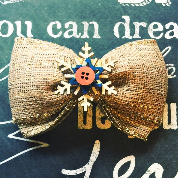 """Bows for Dogs or Girls - 2"""" Gold Sparkle Burlap Mini Bow - Snowflake - Holiday Bows - Dog Bows - Burlap - Bows - Gold"""