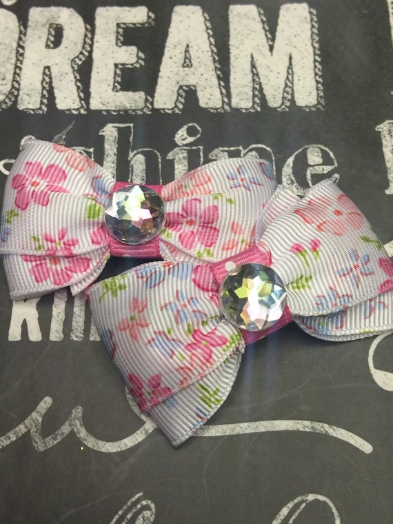 "2"" Spring Floral Mini Bow Set"