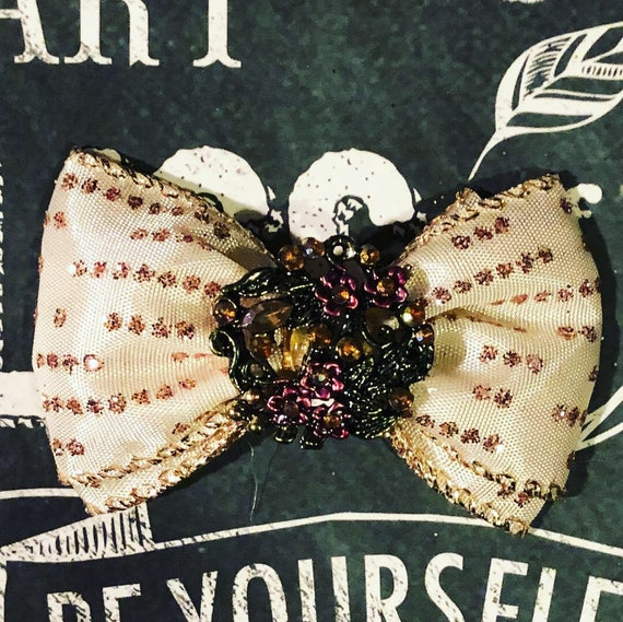 "2"" Glitzy Vintage Holiday Mini Bow - Dog Bows - Bows for Girls - Vintage Bows - Holiday Bows - Chistmas Bows"