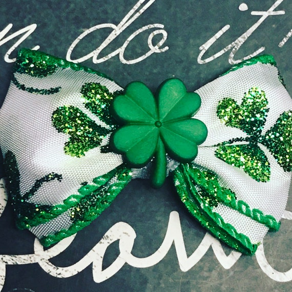 "2"" Sparkly St. Patrick's Day Four Leaf Clover Mini Bow - Dog Bows - Bows for Girls - Green Bows - St. Patrick's Day Mini Bow - Small Bows"