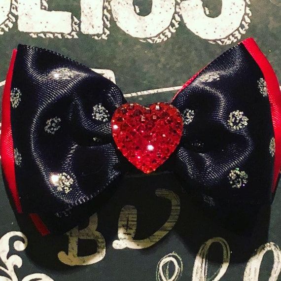 "2"" Red/Black Double Layer Mini Bow- Dog Bows - Bows for Dogs  - Holiday Bows - Hair Bows for Dogs - Red Bows - Heart Bows"