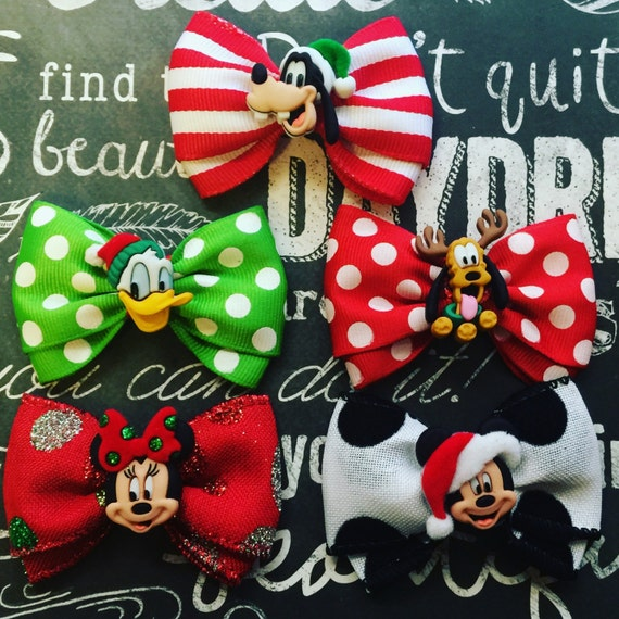 "Bows for Dogs or Girls - 2"" Mickey Christmas Mini Bows - Individual or Set - Mickey and Minnie Mouse - Goofy - Holiday Bows - Dog Bows"