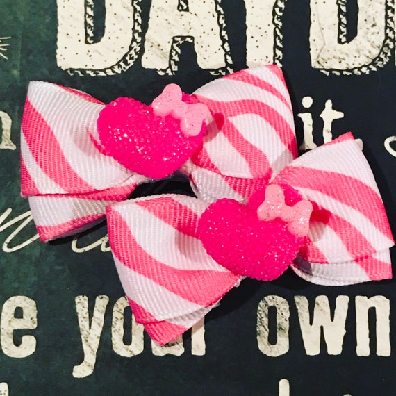 "2"" Pink Zebra Mini Bow Set - Dog Bows - Bows for Girls - Zebra Print Bows - Pink Bows - Hearts"
