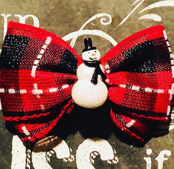 """2"""" Red/Black Plaid Snowman Mini Bow- Dog Bows - Bows for Dogs  - Holiday Bows - Hair Bows for Dogs - Red Bows - Snowman Bows"""