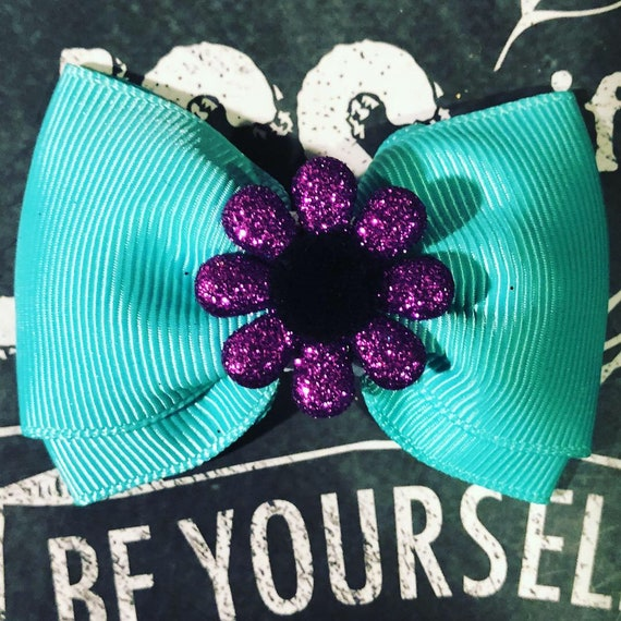 "2"" Turquoise and Purple Mini Bow  - Dog Bows - Bows - Bows for Dogs- Dog Hair Bows - Mini Bows with Flowers - Turquoise Bows"