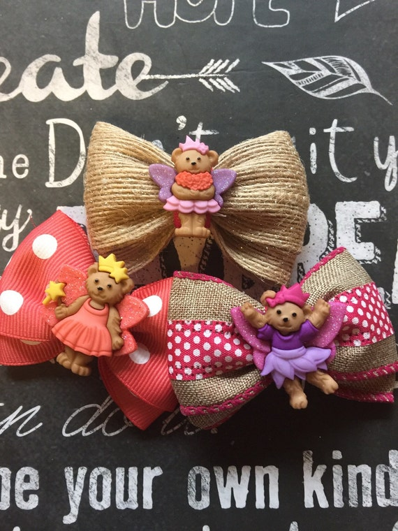 """Bows for Dogs or Girls - Mini 2"""" - Princess Bears"""