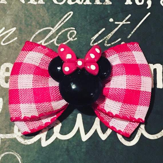 "Pink Plaid 2"" Minnie Mouse Mini Bow -  Birthday Bows - Dog Bows - Bows for Girls - Disney Bows - Small Dog Bows - Pink Plaid - Birthday"