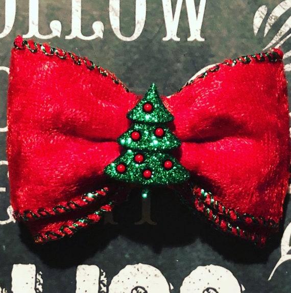 """2"""" Red Velvet Christmas Tree Mini Bow- Dog Bows - Bows for Dogs  - Holiday Bows - Hair Bows for Dogs - Red Bows - Christmas Tree Bows"""