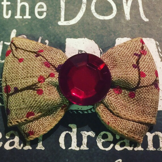 "Bows for Dogs and Girls - 2"" Mini -Fall Tree branch with Red Sparkles, Burlap, with Red Rhinestone Center"