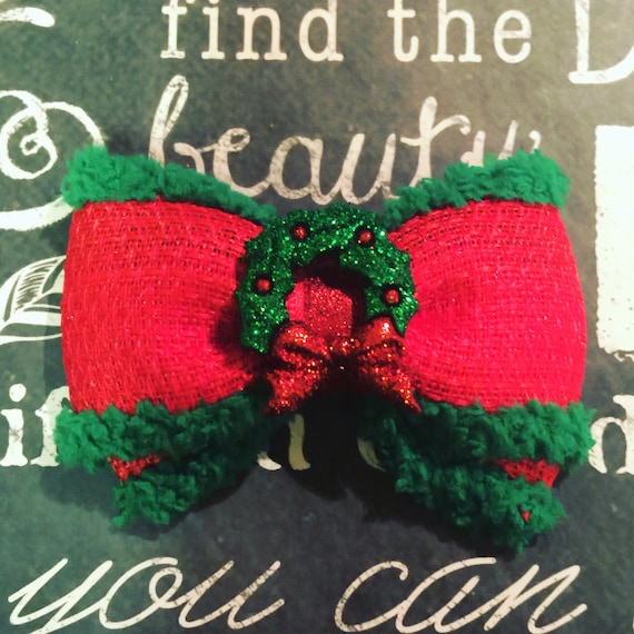 "2"" Christmas Wreath Mini Bow - Bows for Dogs - Holiday Bows - Dog Bows - Christmas Bows - Red Bows - Bows - Bows for Girls - Holiday Bows"