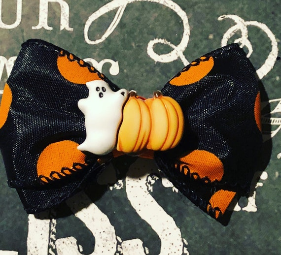 "2"" Halloween Boo Mini Bow- Dog Bows - Halloween Bows - Bows for Girls - Orange and Black Bows - Pumpkins and Ghosts"