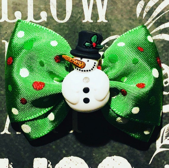 """2"""" Snowman Mini Bow- Dog Bows - Bows for Dogs  - Holiday Bows - Hair Bows for Dogs - Christmas Bows - Snowman Bow"""