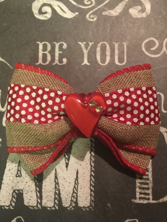"2"" Red Polka Dot and Burlap Mini Bow"
