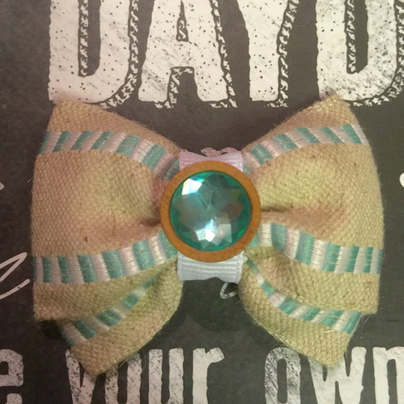 """Bows for Dogs or Girls - Mini 2"""" - Burlap and Turquoise"""