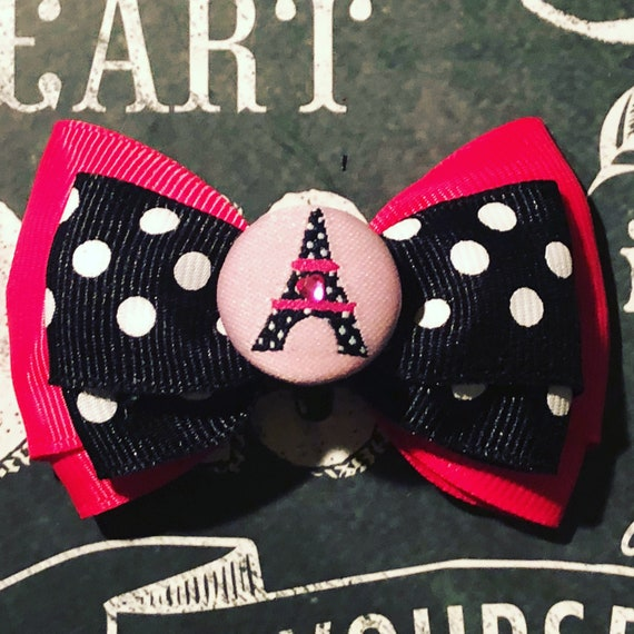 """2"""" Limited Edition Pink and Black Paris Mini Bow- Dog Bows - Bows for Dogs  - Bows for Small Dogs - Bows for Girls - Eiffel Tower Bows"""