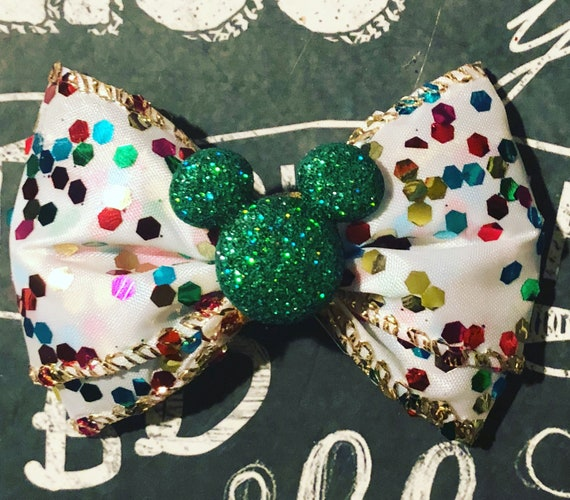 "2"" Sparkly Confetti Mickey Mouse Mini Bow- Dog Bows - Bows for Dogs  - Mickey Mouse Christmas Bows - Hair Bows for Dogs - Mickey Mouse Bows"