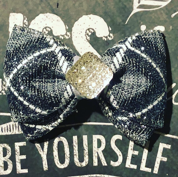 "2"" Limited Edition Grey Sparkle Mini Bow- Dog Bows - Bows for Dogs  - Christmas Bows - Holiday Bows - Sparkly Bows"