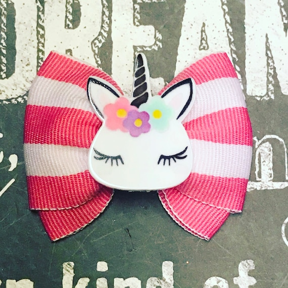 "2"" Pink Stripe Unicorn Mini Bow - Dog Bows - Bows for Girls - Unicorns - Magical - Princess Bows - Pink Striped Bows"