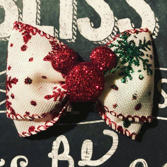"2"" Sparkly Christmas Mickey Mouse Mini Bow- Dog Bows - Bows for Dogs  - Mickey Mouse Christmas Bows - Hair Bows for Dogs - Christmas Bows"