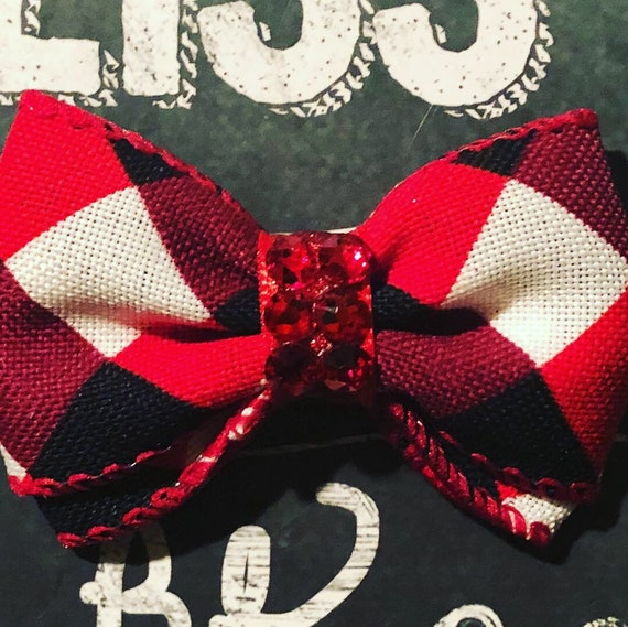 "2"" Red, Black and White Holiday Plaid Mini Bow- Dog Bows - Bows for Dogs  - Christmas Bows - Hair Bows for Dogs - Winter Bows - Plaid Bows"