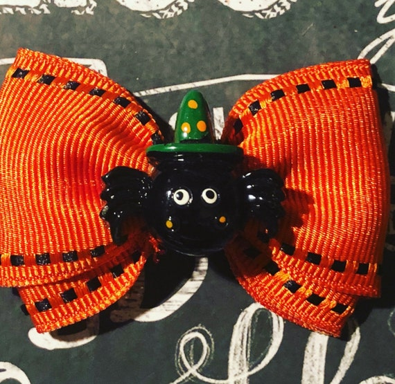 "2"" Spooky Spider Halloween - Mini Bow- Dog Bows - Halloween Bows - Bows for Girls - Orange and Black Bows - Spider Halloween Bows"