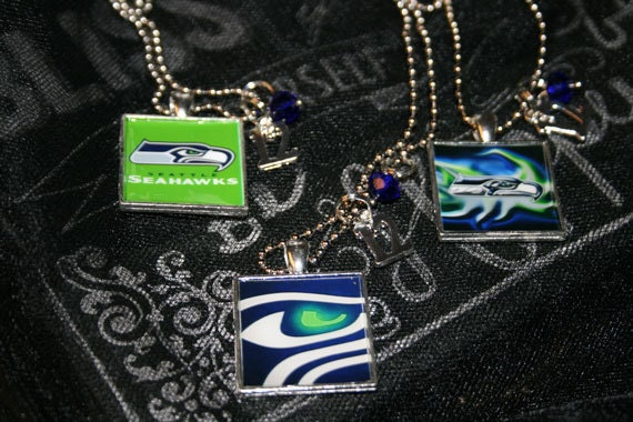 Square Seahawks Inspired Necklace