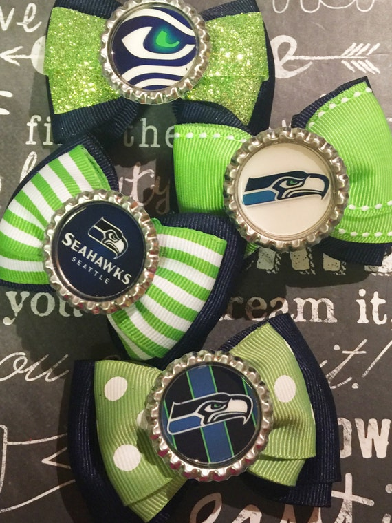 Seahawks Inspired Bottlecap Mini Bows