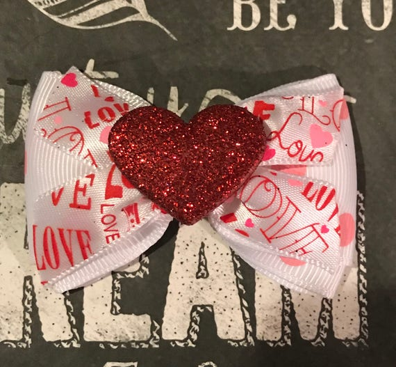 "2"" Be My Valentine Mini Bow - Valentine's Day - Dog Bows - Red Hearts - Bows for Girls"