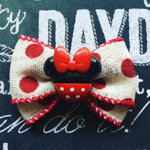 "2"" Red Polka Dot and Burlap Minnie Mouse Mini Bow"