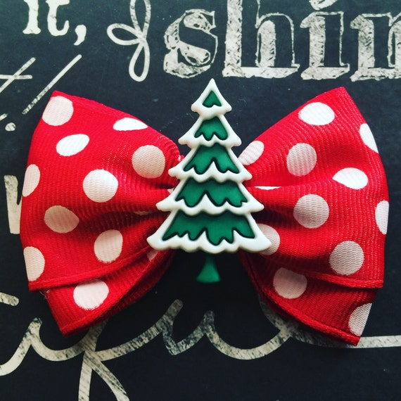 "2"" Holiday Tree Mini Bow - Bows for Dogs - Red Polka Dot Bows - Christmas Tree Bows - Holiday Bows - Dog Bows - Polka Dot Bows - Bows"