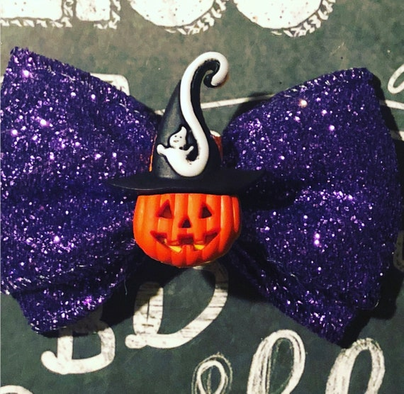 """2"""" Spooky Jack O Lantern Halloween Mini Bow - Mini Bow- Dog Bows - Halloween Bows - Bows for Girls - Creepy Dog Bows - Halloween Bows"""