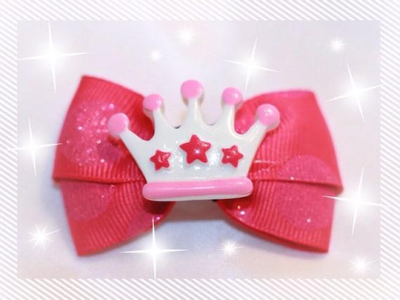 "2"" Pink Princess Dog Bow"