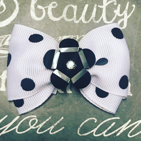 "Bows for Dogs or Girls - 2"" Black and White Polka Dot Mini Bow with Black Acrylic Flower - Dog Bows - Bows for Girls - Polka Dot Bows"