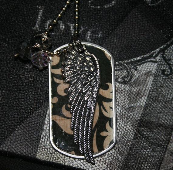 Angel Wing Embellished Dog Tag Necklace