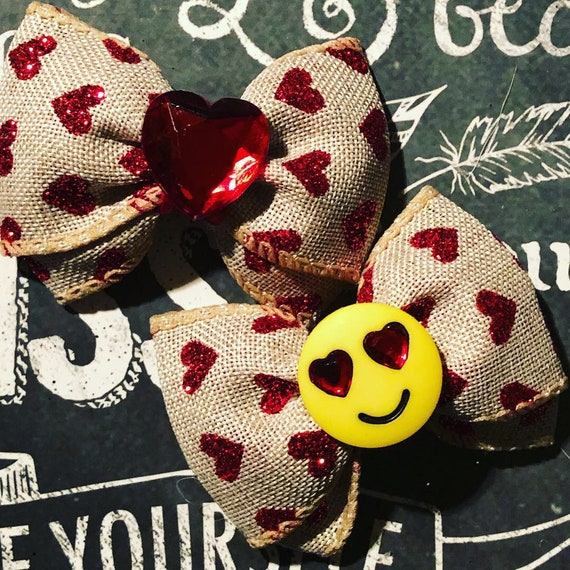 "2"" Burlap and Red Glitter Heart Mini Bows  - Bows for Girls - Dog Bows - Valentine's Day - Emoji Bows - Hair Bows for Dogs"