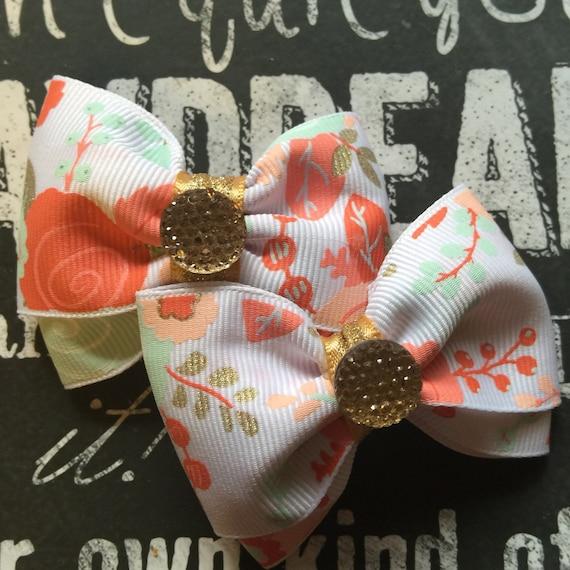 "2"" Floral Mini Bow Set"