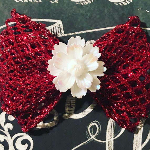 "2"" Holiday Flower and Red Mesh Sparkle Mini Bow- Dog Bows - Bows for Dogs  - Holiday Bows - Hair Bows for Dogs - Christmas Bow - Holiday Bow"