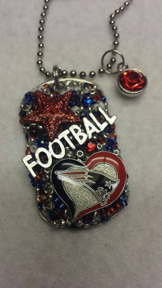 Patriots Inspired Bling Embellished Necklace - Football Team Jewelry - Patriots Jewelry