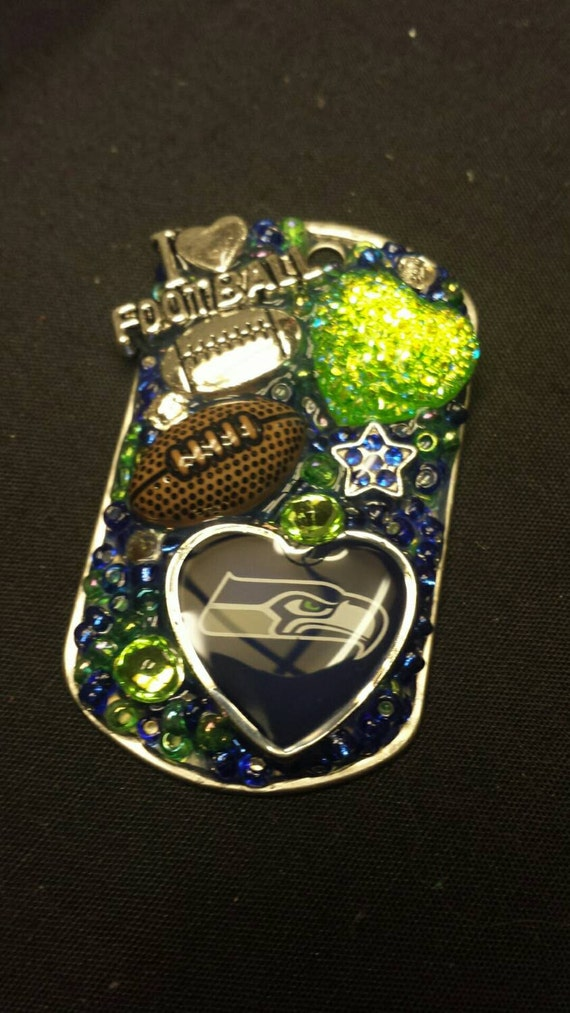 Seahawks Inspired Bling Embellished Necklace - style 2 - Football Team Jewelry - Seahawks Jewelry