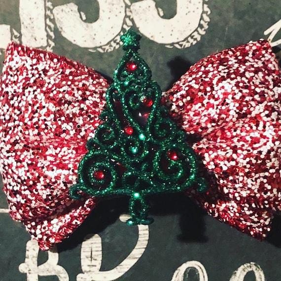 "2"" Sparkly Filigree Christmas Tree Mini Bow- Dog Bows - Bows for Dogs  - Holiday Bows - Hair Bows for Dogs - Red Bows - Christmas Tree Bows"