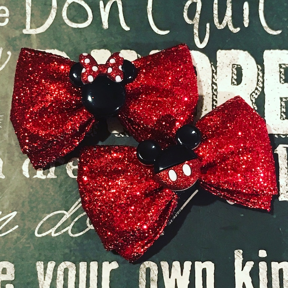 Mickey and Minnie Red Glitter Mini Bow Set - Bows for Girls - Dog Bows - Valentine's Day - Mickey Mouse