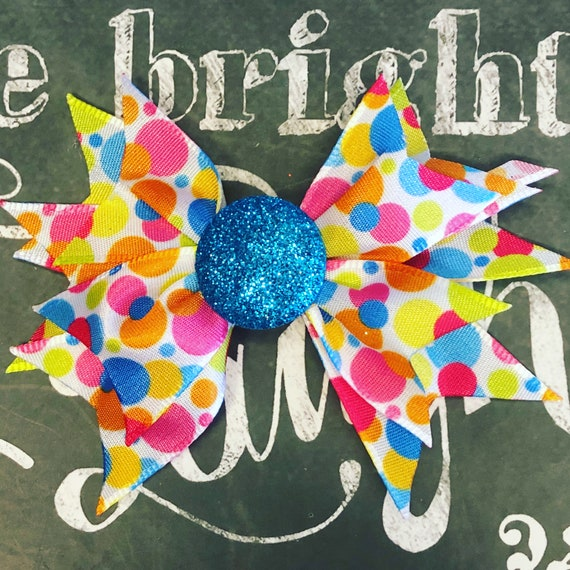 "2"" Mini Pinwheel Birthday Bow for Small Dogs or Girls - Dog Bows - Limited Edition Mini Pinwheel Bow - Birthday Bows - Colorful Polka Dots"