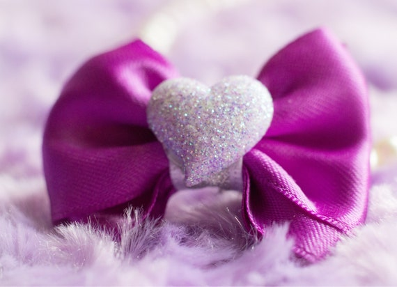 "2"" Purple Heart Mini Bow - Dog Bows  - Bows for Girls - Baby Bows - Hearts - Hair Bows for Dogs"