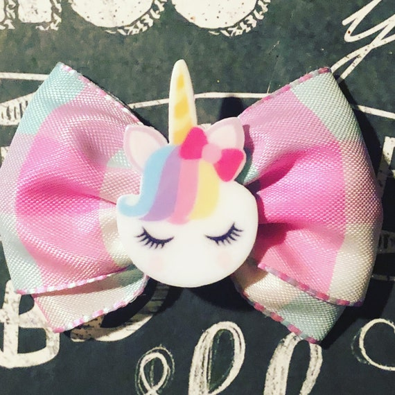 "2"" Rainbow Plaid Unicorn Mini Bow - Dog Bows - Bows for Girls - Unicorns - Magical - Princess Bows - Plaid Bows"
